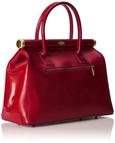 Rouge véritable CTM élégant bandoulière en Femme Satchel Rosso avec poignées 35x28x16cm cuir et Sac qq7Hw4vg