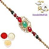 Ghasitaram Gifts Rakhis online USA - St-9118 Mina Stone Rakhi with 200 gms of Kaju katli
