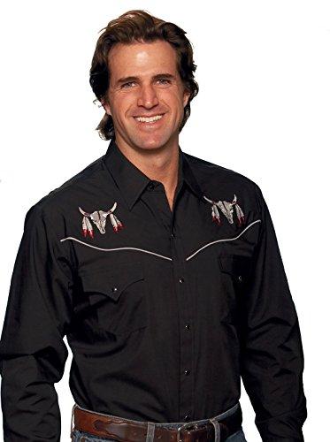 Buffalo Skull T-shirts (Men's Ely Cattleman Buffalo Skull Embroidered Shirt, BLACK, 2XL)