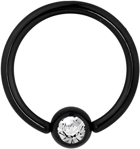 14g 1/2 Inch Surgical Steel Black IP Plated Jeweled Captive Bead CBR Hoop -