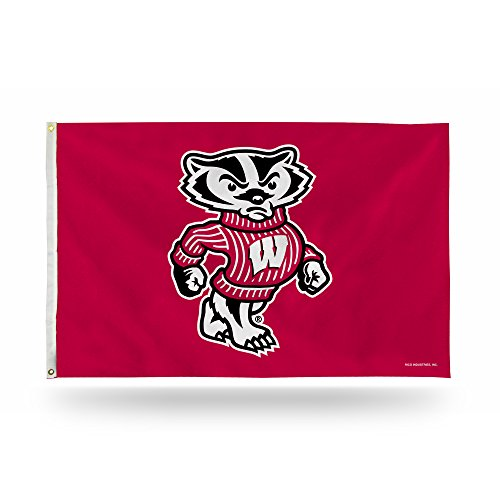 (Rico Industries NCAA Wisconsin Badgers 3-Foot by 5-Foot Single Sided Banner Flag with)