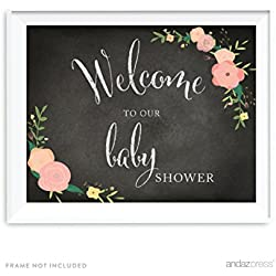 Andaz Press Baby Shower Party Signs, Chalkboard Pink Coral Floral Roses Print, 8.5x11-inch, Welcome to our Baby Shower, 1-Pack