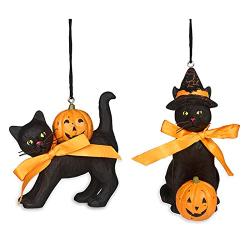 (Black Cat Halloween Ornaments Set of)