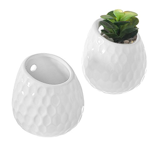New Ceramic Planter (Set of 2 Golf Ball Inspired White Small Freestanding / Wall Mounted Ceramic Decor Plant Display Vase Pots)
