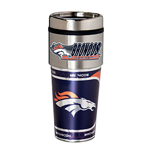 Great American Products Denver Broncos 16oz. Stainless Steel Travel - Logo Thermos Pewter