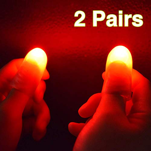 OUERMAMA 2 Pairs Magic Finger Light Up Thumb Tips Party Magic Tricks ()