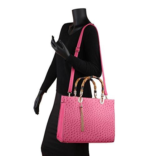 Wallet Top Set Purse pieces Handle Bag Ostrich 2 purple Shoulder Handbag Large Satchel Designer Leather YwqIxFR