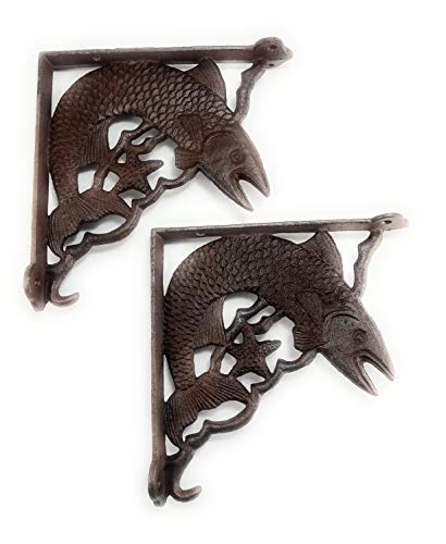 Set of 2 Swimming Fish Shelf Bracket, Heavy Cast Iron Wall Mount, Accented with a Star, Indoor or Outdoor Use, Rustic Brown Color Finish, Old Primitive Design, 8 Inch by 8 Inch by 1/4 Inch Thick