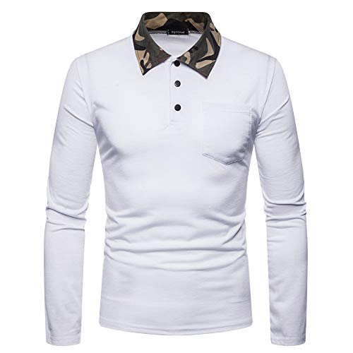 kaifongfu Button Shirt,Men's Slim Fit Camouflage Neck Long