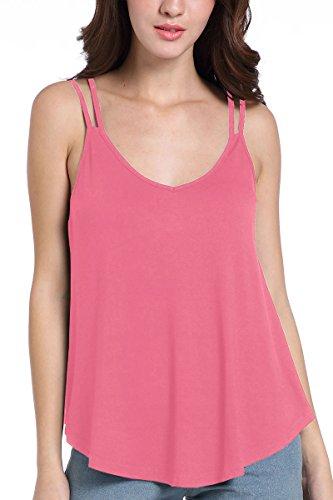 Laucote V Neck Casual Workout Flowy Tank Top Plus Size Summer Vest for Women XL