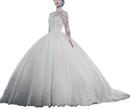 Wedding Gown Train Chiffon - Happyus Long Sleeve Wedding Dress High Neck Lace Appliqued Train Ball Gown