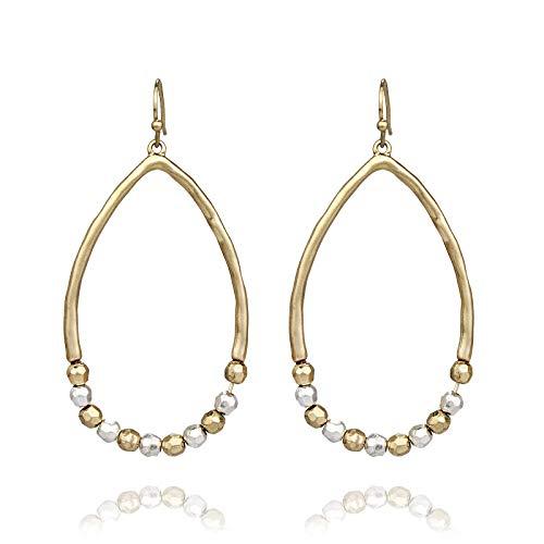Pomina Two-tone Multi Faceted Beaded Teardrop Earrings (Worn Gold) (Gold Earrings Casual)