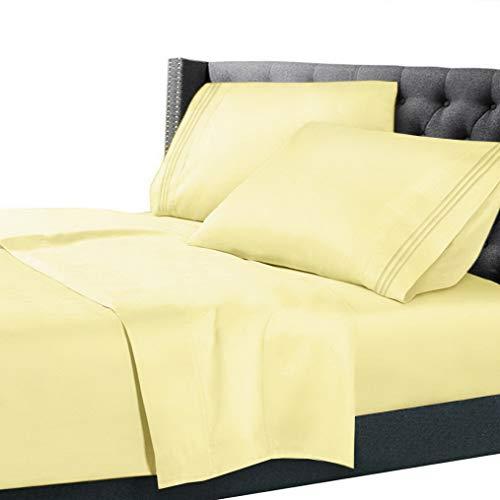 Hebel Double Brushed Soft Microfiber Hotel Style Bed Sheets, Deep Pocket Sheet Set | Model SHTST - 563 | Split King