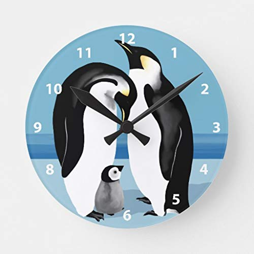 Moonluna Emperor Penguin Large Wall Clocks Decorative for Living Room Kitchen Bedroom Bathroom Home Office Decor 16 Inches