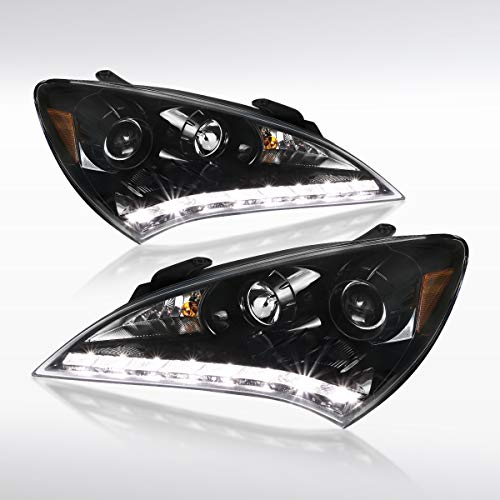 Autozensation For Jet Black For Hyundai Genesis 2Dr Coupe SMD LED Projector Headlights Pair