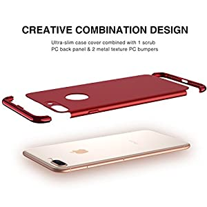 iPhone 8 Plus Case, RANVOO Slim Fit Hard Stylish Thin Case with 3 Detachable Parts [Support Wireless Charging] for Apple iPhone 8 Plus Only, CHROME GOLD and RED [CLIP-ON]