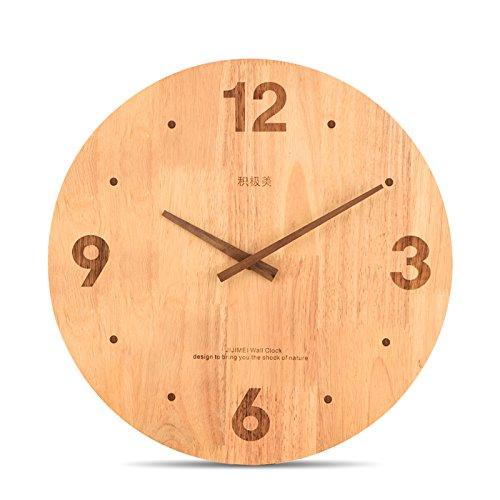 簡潔なデザイン 木製壁掛け時計 静かなウォールクロック(ガラス不使用で 安全)2色 (C) B01N6L7W2A C C