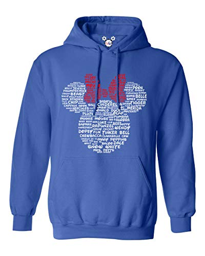 Minnie Mouse Disney Adult Women and Ladies Character Name Tee (Royal Blue Hoodie, 3X-Large) -