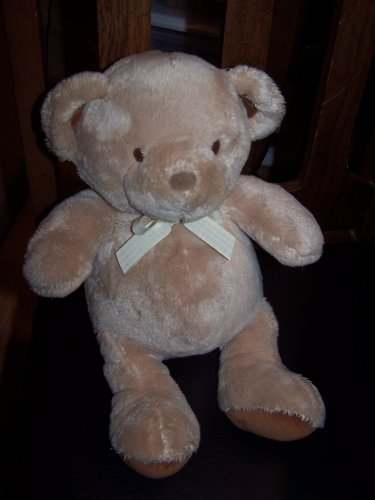 Carters Just One Year Tan Teddy With Yellow Gingham Ribbon