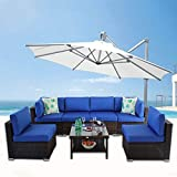 Outime Patio Furniture Brown Rattan Sofa Wicker 7pcs Sectional Sofa Set Christmas Party Sofa Conversation Set Garden Patio Sofa Cushioned -Easy Assembled(Royal Blue Cushions,7 Piece)