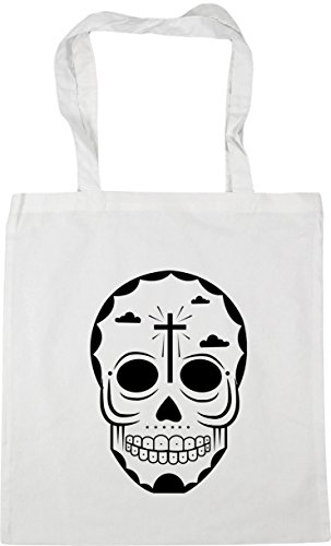 6 Bag skull x38cm 10 litres Shopping White Tote HippoWarehouse 42cm Beach Gym fR1CqRpw