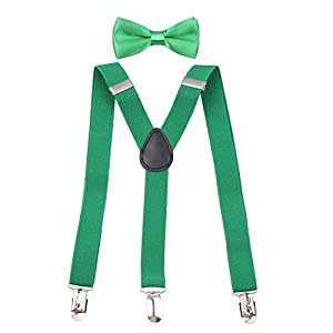 "GUCHOL Boys Suspenders Bow Tie Set 1"" Wide 3 Clips Adjustable Length 5 to 13 Year Old"