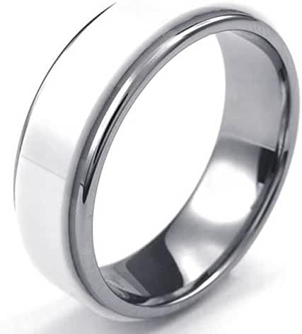 AnaZoz Jewelry White Silver Classical 7mm Band Mens Womens Ceramic Tungsten Ring