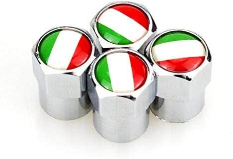 【GFA】4つのイタリアの国旗マーク金属ホイールタイヤのバルブキャップは、フィアット500アッバス自動車アクセサリーに適用されます。