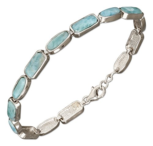Sterling Silver 8 inch Rectangle and Oval Shapes Link Larimar Bracelet by 100Silver