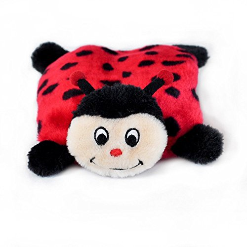 ZippyPaws Squeakie Pad No Stuffing Plush Dog Toy, Ladybug ()