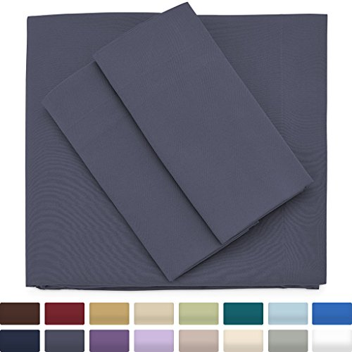Premium Bamboo Bed Sheets - Queen Size, Grey Sheet Set - Deep Pocket - Ultra Soft Cool Bedding - Hypoallergenic Blend From Natural Bamboo - 1 Fitted, 1 Flat, 2 Pillow Cases - 4 Piece