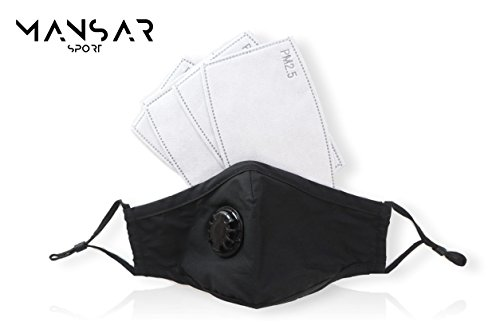 N95 Dust Mask - Anti Pollution Mask - Washable Material with (4) Activated Carbon PM2.5 Filters - for Protection against Dust, Pollen, Smoke, Mold Spores, Cold & Flu Virus and other Air Pollutants