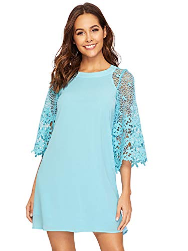 - MAKEMECHIC Women's Casual Crewneck Half Sleeve Summer Chiffon Tunic Dress Blue M