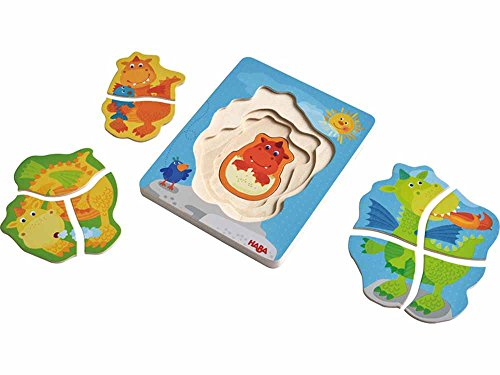 HABA Wooden Puzzle Darling Dragons with Four Layers of Silly Dragons - 10 Pieces in All - Ages 2 and Up (Haba Jigsaw Puzzles)