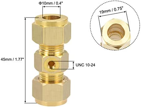 uxcell Brass Compression Tube Fitting 10mm OD Straight UNC 10-24 Thread Nozzle Hole Pipe Adapter for Water Garden Irrigation