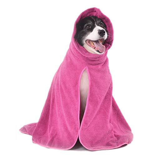 Winthome Dog Bathrobe - Quick Drying Microfiber Bathrobe for Dog Cat Pet – Dog Pet Bath Towel - Absorption Bath Towels - Keeps Your Dog, Home and Car Clean & Dry Super Absorbent(L, Pink)