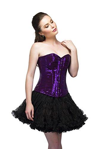 受け入れる豊富に隠されたPurple Georgette Sequins Gothic Burlesque Waist Training Bustier Overbust Corset