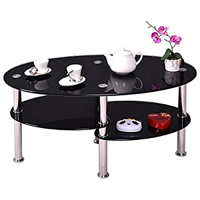 New Black, Tempered Glass Oval Side Coffee Table Shelf Chrome Base Living Room Description