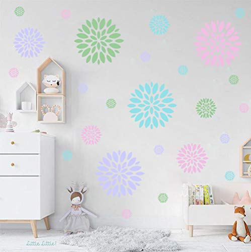 Blooming Flower Wall Decal, Attractive Fireworks Pattern Sticker for Holiday Decoration, Great Circle Window Cling Decor and Girls Bedroom Decor (28pcs Multicolor Decals) ()