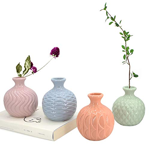 - GeLive Ceramic Ikebana Vase, Flower Arrangement, Decorative Bud Hydroponics Container, Reed Diffuser, Colorful 4 Pack