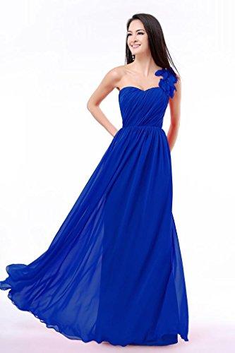matrimoni Royal e in lungo chiffon donna formali feste per vestito ideale monospalla decorazione Blue da floreale Balllily con w7xf17