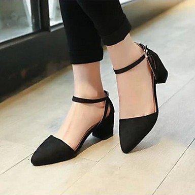 Talones de las mujeres Zapatos Primavera Verano Otoño del Club Comfort correa del tobillo de la PU Suede Oficina Boda Carreras y vestido de noche de tacón grueso informal Black