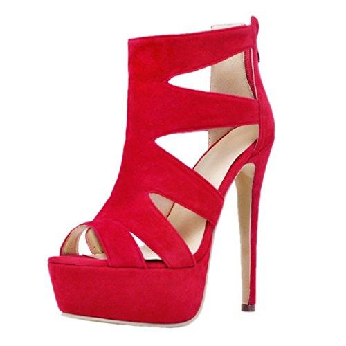 MERUMOTE Women's Peep Toe Glegant Stiletto High Heel Dress Sandals Red-Suede hwm7dVA