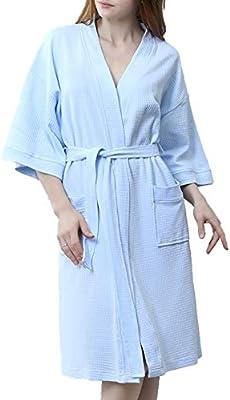 BIXUYAO Batas Kimono para Mujer, Bata De Baño De Algodón, Albornoz ...