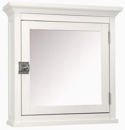 Elegant Home Fashions Madison Collection Mirrored Medicine Cabinet, White