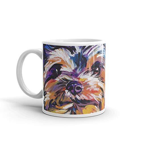 Fun Yorkie Dog Portrait bright colorful Pop Art Painting by LEA 11 Oz White Ceramic