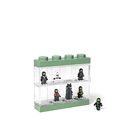 Room Copenhagen 4065 Lego NINJAGO Movie Display Case for 8 Minifigures, Stackable Box with Compartments, for Wall or Desk, Transparent/Green, zzzz-s: Home & Kitchen