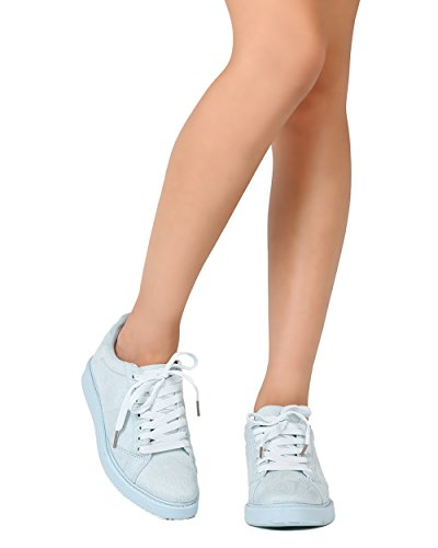Qupid FE91 Women Faux Suede Almond Toe Lace Up Sneaker – Light Blue (Size: 8.5)