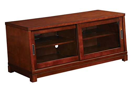 Office Star 47-Inch Grayson TV Stand with Sliding Glass Doors and 2 Inner Shelves, Cedar Finish (Cedar Tv Stand)