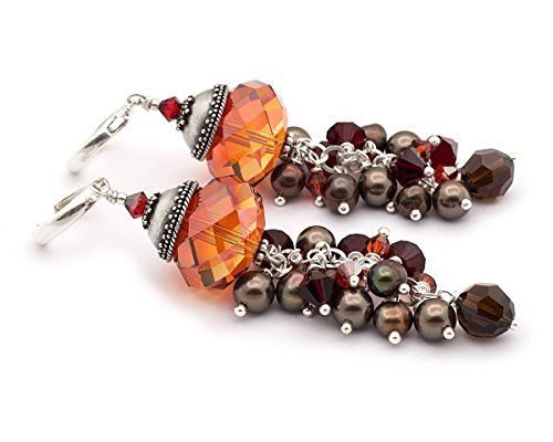 Briolette Hoop Crystal Earrings (Pumpkin Spice - long statement Swarovski crystal brown pearl cluster sterling silver 925 hoop earrings)